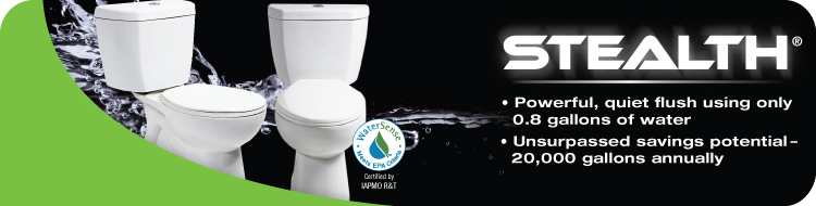 cut your water usage and lower your water bills by installing a stealth toilet in every bathroom